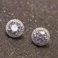 1Pair Silver Plated Women Delicate Crystal Zircon Inlaid Cute Ear Stud Earrings