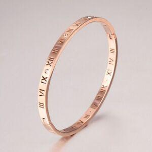 Rome Number With Created Diamond Rose Gold GF Titanium Steel Bangle