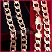 18K ROSE PLAIN GOLD GF SOLID MENS LADIES CURB RING CHAIN LONG NECKLACE 60cm GIFT