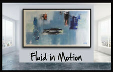 72x40 Original x Large abstract painting wall art deco by Elsisy Teal Blue Blk