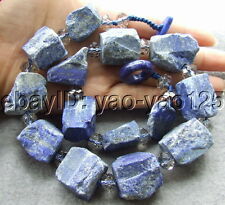 S030214 Natural 22mm Lapis Rough&Crystal Necklace