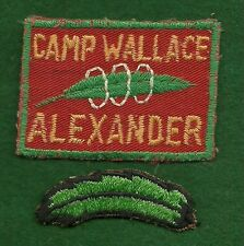 BOY SCOUT PATCH WITH SEGMENT - 1950's CAMP WALLACE ALEXANDER - PIEDMONT COUNCIL