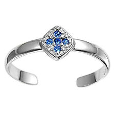 Silver Tiny Cross Toe Ring Sterling Silver 925 Best Jewelry Blue Sapphire CZ