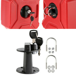 Universal 3L/5L Fuel Oil Tank Mount Bracket Lock Clamp With Key For Motorcycle
