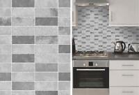Grey Stone Tile Effect Wallpaper Expanded Vinyl Kitchen Bathroom Washable