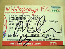 Ticket- MIDDLESBROUGH v CHARLTON, FA Cup 6th Round REPLAY, 12 February 2006