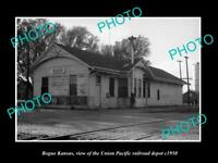OLD LARGE HISTORIC PHOTO OF BOGUE KANSAS THE UNION RAILROAD DEPOT c1950