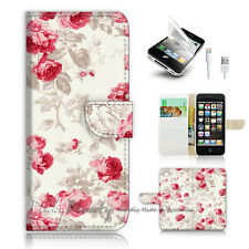 ( For iPhone 5 / 5S / SE ) Wallet Case Cover! Metro Vintage Flower Pattern P0382