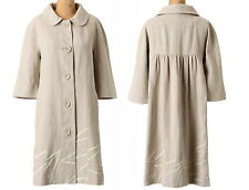 Anthropologie Jackie Coat P10 Large Linen Neutral Sophisticated Classic Jacket