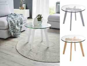 Glas Beistelltisch rund Holz Wohnzimmertisch Couchtisch Nachttisch Sofa Tisch