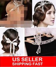 1920's Flapper Great Gatsby Daisy Style Alloy Diamante Headband Tiara Ivory Prom