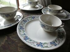 Vtg Mayer China Tropic pattern restaurant ware cup snack plate Art Deco Set of 4