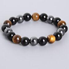 Natural 10mm Black Obsidian Tiger Eye and Hematite Beads  Stone Bracelet Bangle