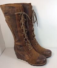 Sorel Cate The Great Wedge Tall Dark Brown Boots Size 9