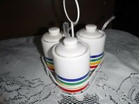 Retro 70's Condiment Jar Set RAINBOW CERAMIC Picnic Caddy MUSTARD Ketchup RELISH