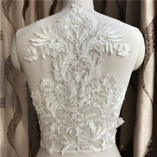 3D Flower Lace Embroidery Bridal Applique Pearl Beaded Tulle DIY Wedding Dress