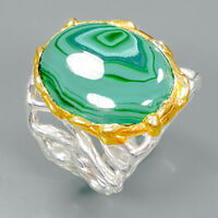 Handmade Natural Malachite 925 Sterling Silver Ring Size 7.5/R89394