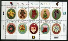 MARSHALL ISLANDS 2016 CHRISTMAS ORNAMENTS SHEET OF TEN  MINT NH