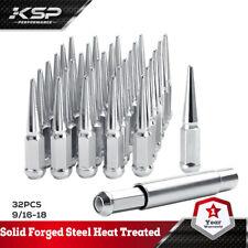 "32 Pc Solid Steel Spike Lug Nuts Kit Chrome 9/16""  Dodge RAM 2500 3500 Ford F250"