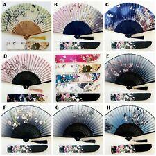 Hand Held Folding Fan Silk Fabric Chinese Fan Flower Bamboo Fan Wedding Party