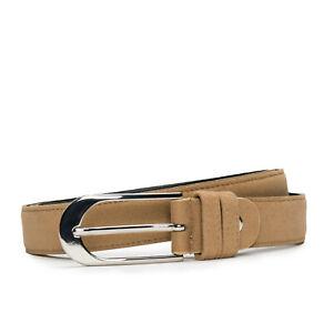 Fashion & elegant plain belt on vegan suede-like with oval sleek silver buckle