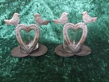 Attractive Pair Shabby Chic Metal/Glass Tealight/Candle Holders Hearts & Birds