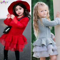 Kids Girls Knitted Sweater Winter Pullover Solid Crochet Tutu Dress Tops Clothes