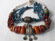 Vintage Berber amber color Necklace and Blue Stone Necklace, Ethnic Tribal