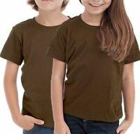 Gildan Brown Kids Plain T Shirt School Uniform Girls Children High Quality Tops