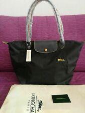 New Longchamp Le Pliage Nylon Tote Bag 1899 Graphite Horse Embroidery Large L