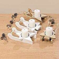 Teelichthalter Schlitten Holz L25 cm 2er Set Motiv Stern oder Tannenbaum