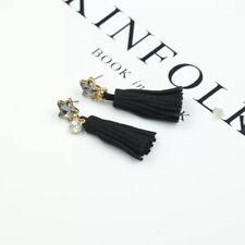 Fashion Black Star Rhinestone Leather Tassel Drop Dangle Pendant Earrings