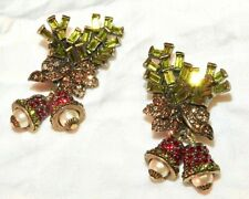 Heidi Daus Earrings Christmas Bells in Holiday Holly Swarovski Rhinestone Signed