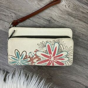 Thirty One Free To Be Soft Zip Around Wallet Daisy Craze Canvas Pink Blue Floral