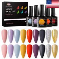 6Bottles/set MEET ACROSS 8ML Soak Off UV Gel Nail Polish Varnish Jelly Series US