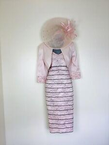 🌸Ispirato Size 12 14 Pink & Grey Dress Bolero Hatinator Mother of Bride Groom🌸