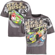 Nascar Kyle Busch# 18 M&M Charcoal Total Print T-Shirt Crispy Cookie Large