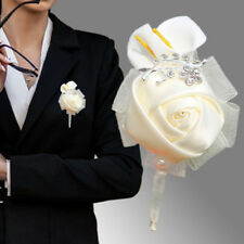 1PC Groomsman Corsage Calla Wedding Artificial Flower Brooch Bouquet Boutonniere