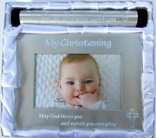 "BABY BOY ""MY CHRISTENING CERTIFICATE"" HOLDER & ""MY CHRISTENING"" PHOTO FRAME BNIB"