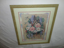 Home Interiors Large '' Hummingbirds & Basket of Flowers'' Picture  Gorgeous