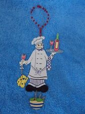 Metal Chef Holding Wine Bottle, Cheese Bottle Christmas Ornament