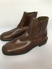 Mens Clarks Ankle Boots Brown Size 7F Made In England Fur Lined Square Toe Heavy