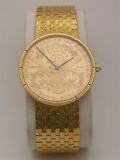 Corum 1893 $20 Double Eagle Gold Coin Watch on 18K Gold Bracelet Quartz 35mm