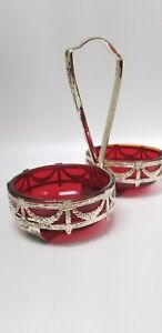 Art Nouveau Red Glass Snack double dishes Gold Metal Caddy Carrier RETRO Vintage