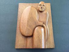 Vintage Signed Kusarik Wood Relief Carving Hand Carved - Man & Water Jug