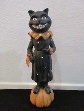 "Halloween Spooked Primitive Vintage Style Figurine Black Cat Decor 15"""