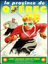 La Province de Quebec Ski Skiing Canada Canadian Travel Advertisement Poster