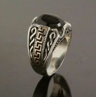 Turkish 925 Sterling Silver Special black onyx stone mens  ring ALL SİZE 003