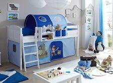 Lit mezzanine ERIC Pin massif teinté blanc tissus Pirate Bleu clair-Bleu foncé