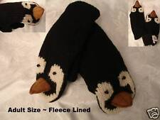 PENGUIN MITTENS puppet ADULT black pittsburgh penguins costume KNIT ice hockey